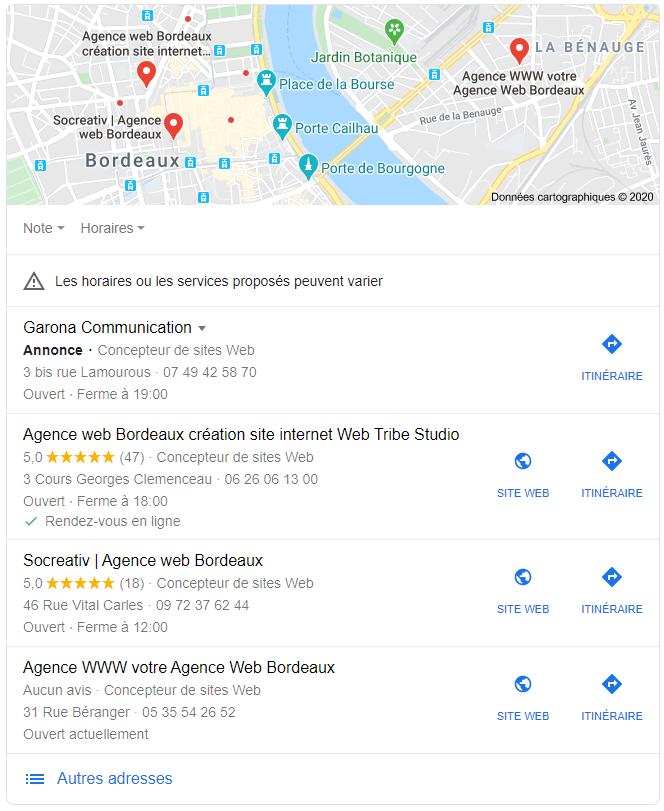 Exemple de fiche d'adresses locales apparaissant dans les résultats de recherche Google.